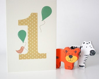 Spotted No 1, First Birthday Card, Yellow