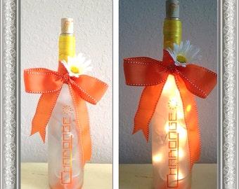 orange and Yellow Wine bottle Lamp