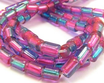 Bright Pink & Capri Blue Two Tone Silver Lined 4x6mm Glass Tube Beads Strand #750