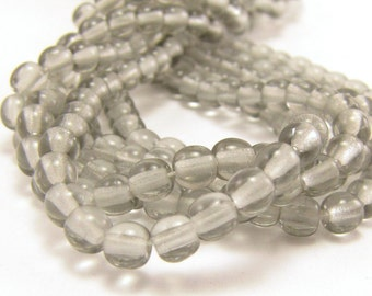 Black Diamond 4mm  Round Czech Glass  Beads 100pc #1091