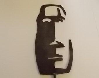 Tiki Face Metal Yard Art