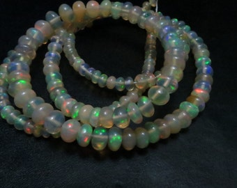 16 Inches  Good Quality Natural Color Ethiopian Opal Smooth Rondells Full Filshy Fire Size 5 mm 2.50 mm  Approx
