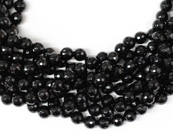 "Black Onyx 10mm faceted round beads 16"" length strand"