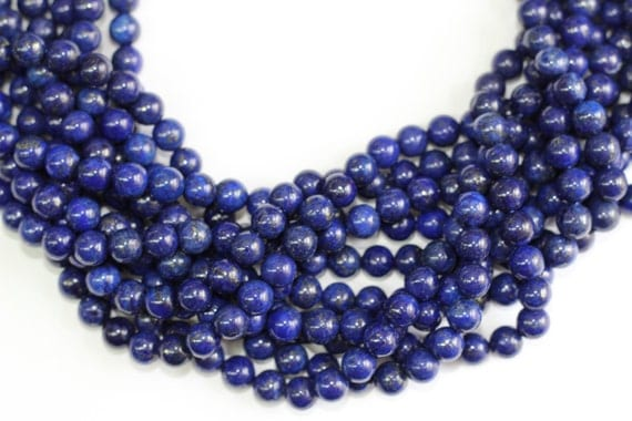 "Lapis  8mm smooth round beads 16"" length strand"