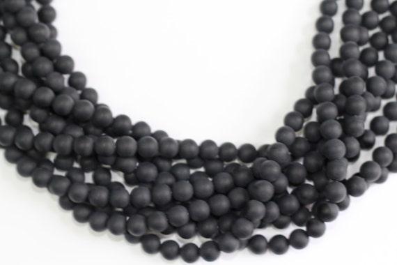 "Black Onyx Matt Finish 4-12mm smooth round beads 16"" length full strand"