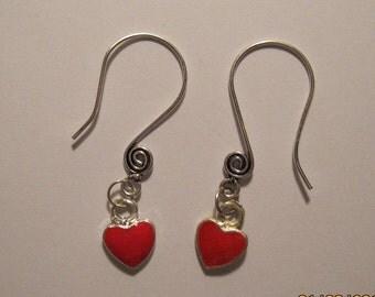 Red Heart Swirl Ear Wire Earrings