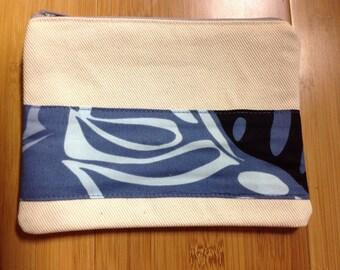 Hawaiian print accent canvas zippered pouch