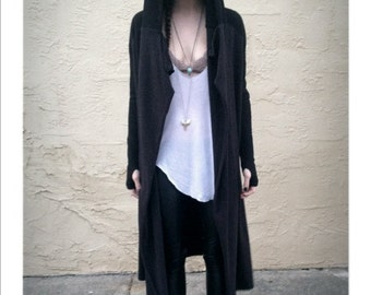 Black Hooded Cloak Cardigan
