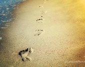 Nature Photgraphy, Beach, Sand, Ocean, Footprints, Nature Print, 10x13 Print, Yellow, Orange - LoriLeshPhotography