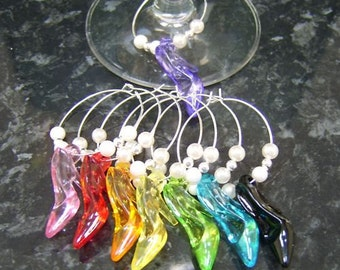 8 x Wine glass charms - hen night party favour SHOES