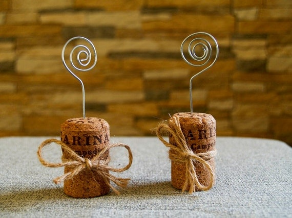 Champagne cork place card holder set of 15 for Place settings name card holders