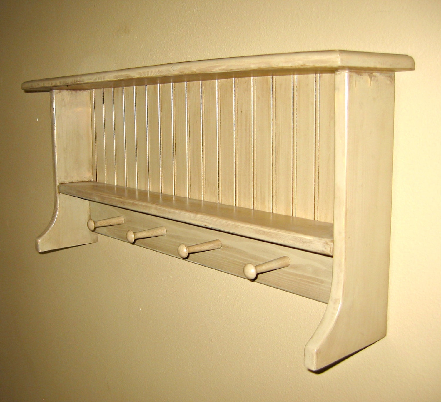 distressed country coat rack with shelf. Black Bedroom Furniture Sets. Home Design Ideas