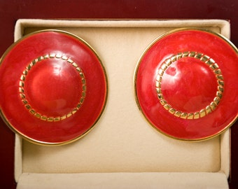 Vintage Red Hat Lady Clip On Earrings