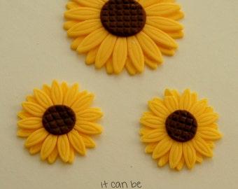 edible sunflower flower cupcake toppers fondant custom handmade