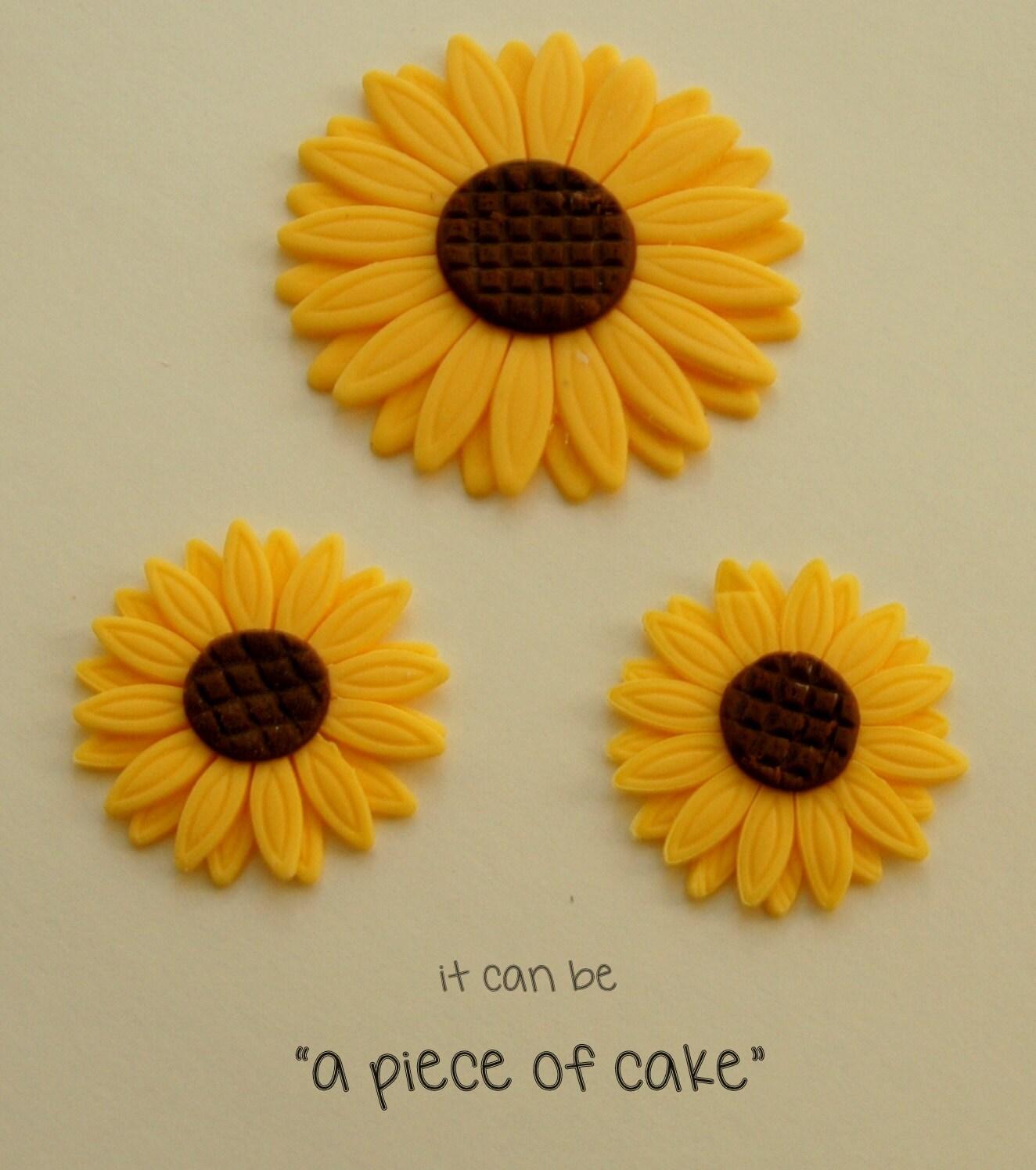 edible sunflower flower cupcake toppers fondant custom