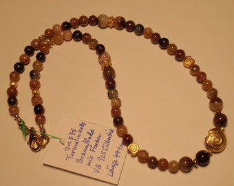 Turmaline Necklace in gold/brown Mix (JK 576)