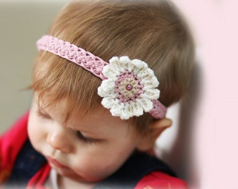 Stretchy Headband with Pretty Flower Crochet Pattern