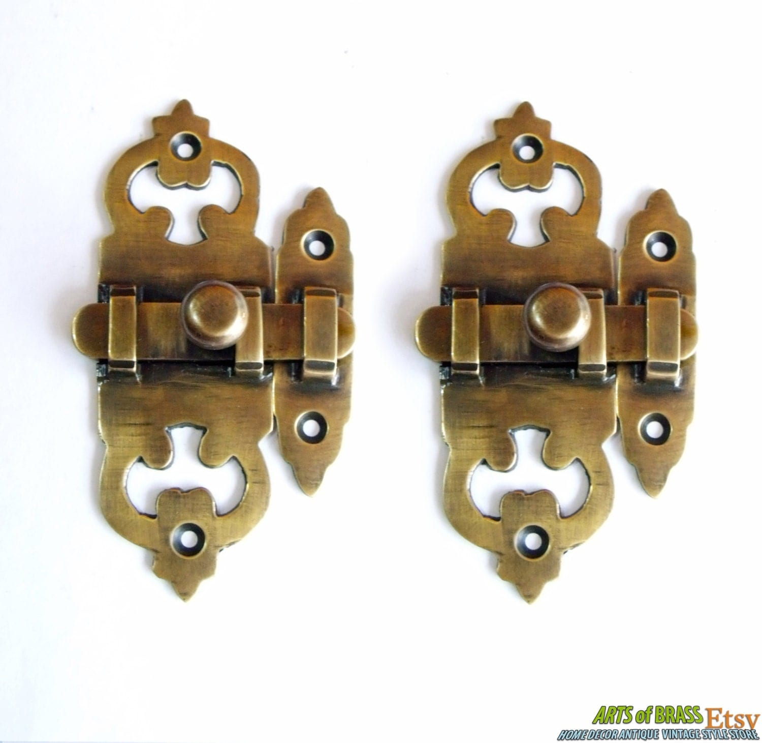 lot of 2 pcs victoria latch box slot antique vintage brass. Black Bedroom Furniture Sets. Home Design Ideas