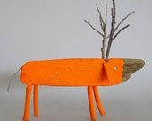 Neon Orange  Wooden Deer - CocoetPompon