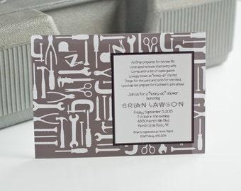 Honey Do Shower Invitation Tools Man Groom Shower Invitation Couples Shower Invitation - Gray or Color - Printable Customized Invitation