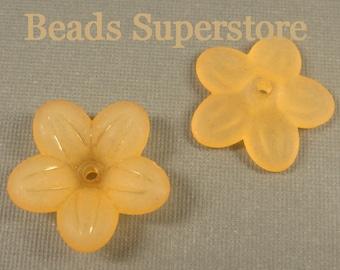 SALE 20 mm x 5 mm Orange Lucite Flower Bead - 10 pcs