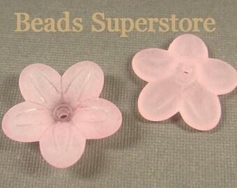 20mm x 5mm Pink Lucite Flower Bead - 10pcs