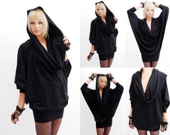 Cowl Dress, Hooded Cowl Dress, Black Cowl Dress, Hooded Black Dress, Made to Order