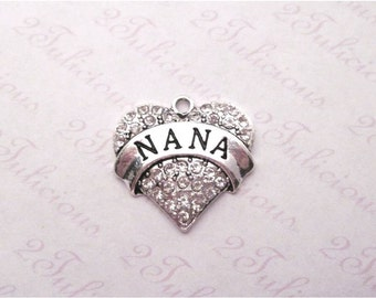 Antique Silver Nana Heart Crystal Pendant Grandma Grandmother Family Charm