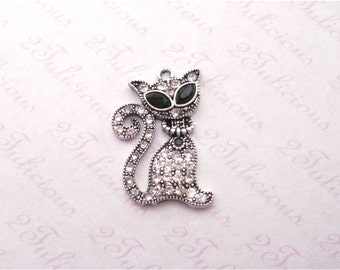 Cat Crystal Pendant Antique Silver Animal Feline Pet Charm
