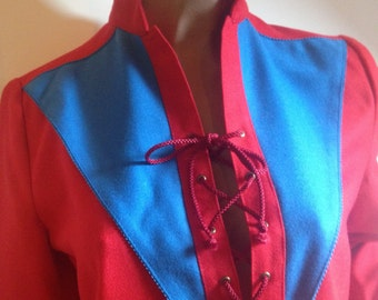 Laced bodice bright red and royal blue wool dress - size 36 or S - French 80s vintage