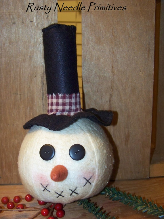 primitive snowman head make do