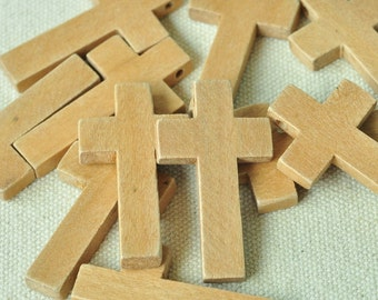 15pcs Unfinished Natural Wood Cross Charms 42x23mm MT136