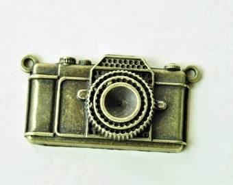 3pcs Antique Bronze Large Camera Charms Connector 29x48mm MM961