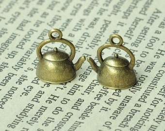 10pcs Antique Bronze Teakettle Charms 17x15x10mm MM084