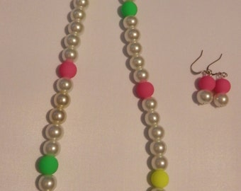 Bright Neon Colors Necklace and Earrings