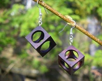 Hollow Cube Katalox Wood Earrings - Large
