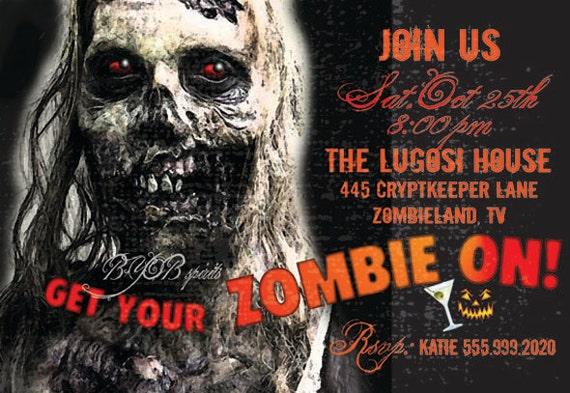 items similar to halloween party invitation zombie on etsy - Zombie Halloween Invitations