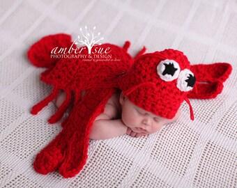 Ready to Ship Lobster Hat & Cape Set Newborn Baby Crochet