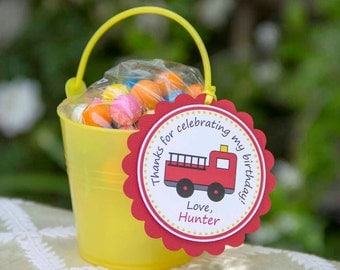 Firetruck Birthday Party Favor Tags