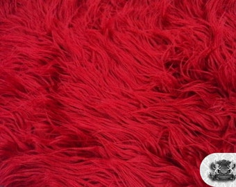 """Faux Fur Long Pile Mongolian Dark Red Fabric / 60"""" Wide / Sold by the yard"""