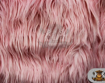 """Faux Fur Long Pile Mongolian Pink Fabric / 60"""" Wide / Sold by the yard"""