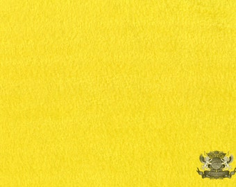 """Fleece SOLID Yellow 5 Fabric / 58"""" Wide / Sold by the yard"""