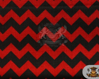 "Polycotton Printed ZIGZAG BLACK Red Fabric / 59"" Wide / By the Yard"