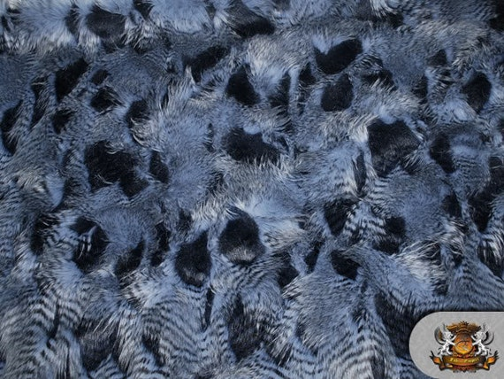 Faux Fur Long Pile Feathered Fur Blue Fabric 62 Wide