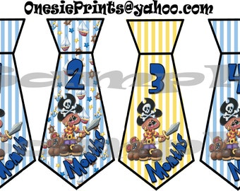 PRECUT 12 Tie Stickers Necktie Monthly Stickers Month Baby Stickers Growth Stickers Infant age stickers photo stickers Baby Boy Pirate Decal