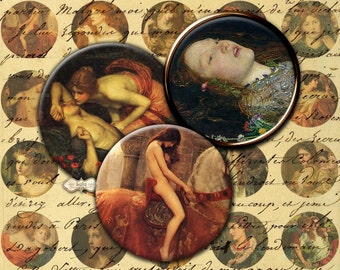 Pre Raphaelite Art - Circle Images - 1 inch circle - Digital Collage Sheet - Artistic Circle Images