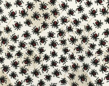 Half Yard Down Under - Red Back Spiders Cream - Cotton Quilt Fabric - by Kanvas - Benartex (W164)