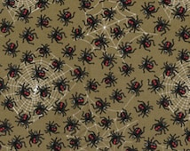One Yard Down Under - Red Back Spiders Brown - Cotton Quilt Fabric - by Kanvas - Benartex (W165)