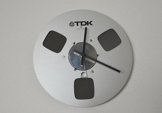 """Vintage 10"""" Audio Reel Clock"""