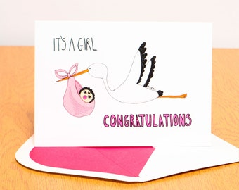 Baby Girl Card - Stork Carrying Baby - Congratulations